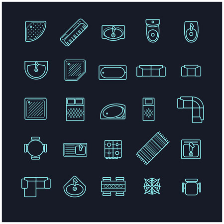 furniture icons set, top view for your design