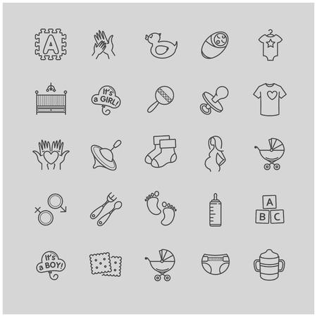 Iconos del bebé fijados para su diseño