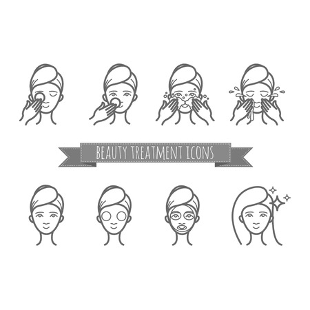 face mask: outline web icons - beauty treatment, face care, mask for your design Illustration