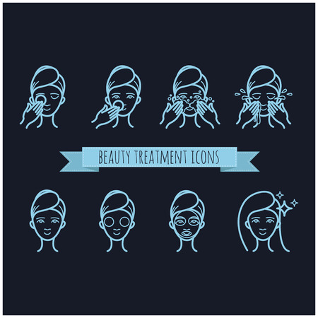 beauty treatment: outline web icons - beauty treatment, face mask, care for your design