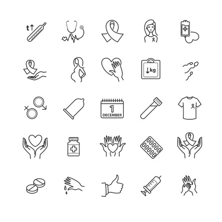 condoms: Outline icons - aids, hiv, therapy, opportunistic disease, treatment for your design Illustration