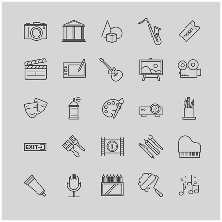 video still: Outline icons set - art, entertament, drawning tools
