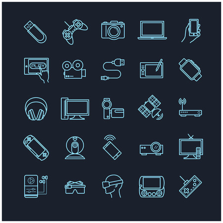 plate camera: Line icons set - gadgets, devices,electronic Illustration