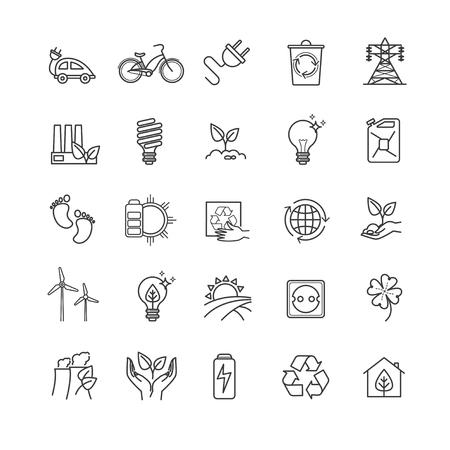 Icônes minces de ligne - écologie, technologie verte, organique Banque d'images - 70792596