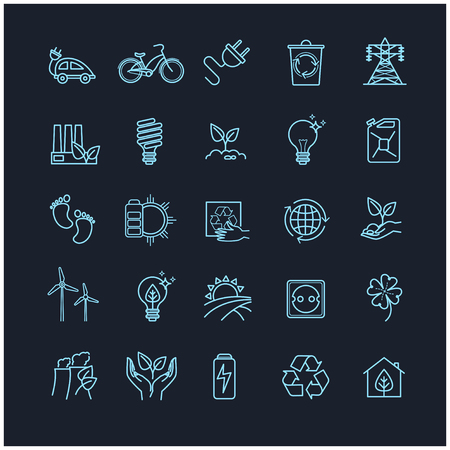 moon rover: Outline icons set - ecology, green technology, organic