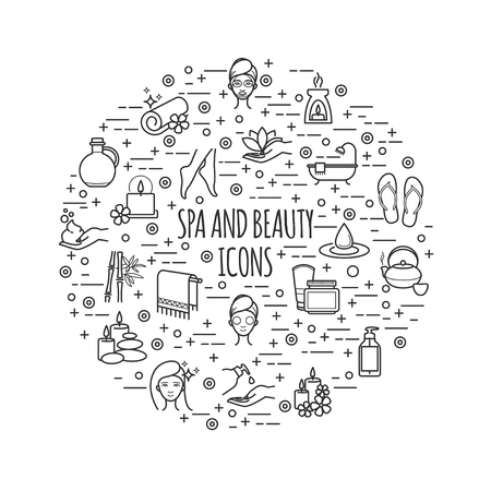 Spa and beauty thin line icons