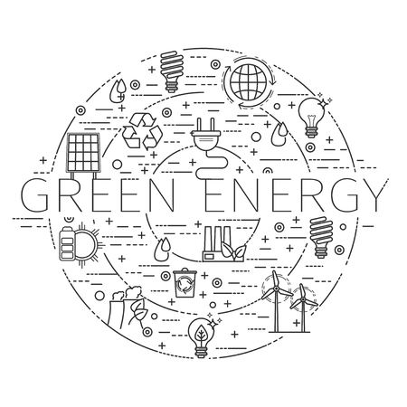 Outline icons set - green energy, eco, recycle Illustration