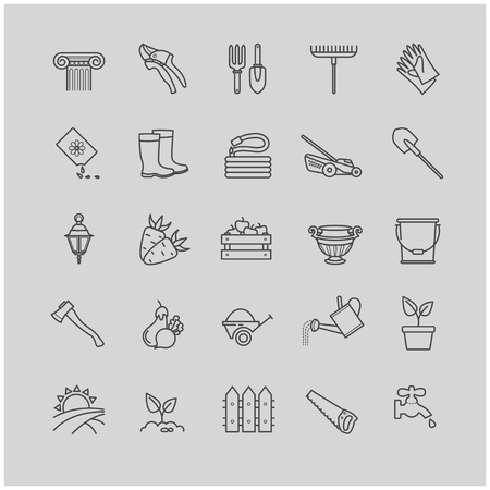 Outline icons set - gardening, tools, flowers