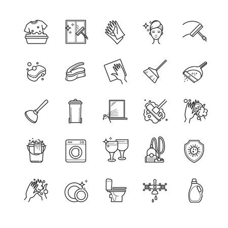 Dünne Linie Set - Reinigung Vektor Symbole