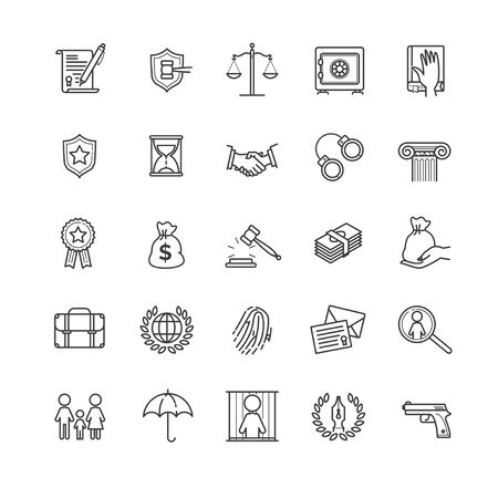 Thin line icons set - law and lawyer services Иллюстрация