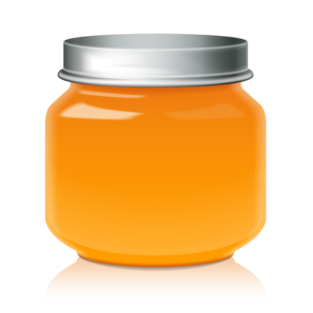 Orange Glass Jar Mock Up For Honey, Jam, Jelly or Baby Food Puree for your design