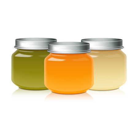 Set Of Glass Jar Mock Up For Baby Food Puree, Honey, Jam, Jelly