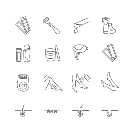 Epilation web icon vector set Illustration