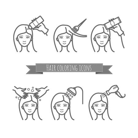 hair care icons, coloring, treatment, styling