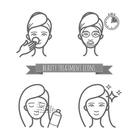 Beauty treatment icons, face mask, spray