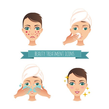woman washing face: Beauty care illustration, acne treatment, demodicosis