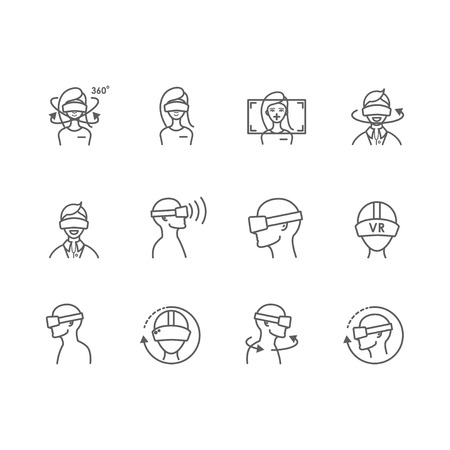Virtual and augmented reality icons.