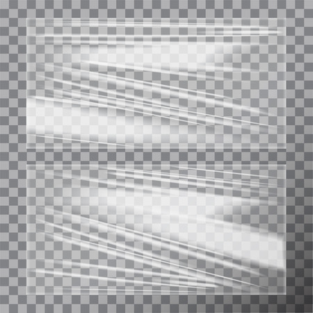 Transparent Glossy Polyethylene Plastic Warp. Vector template set