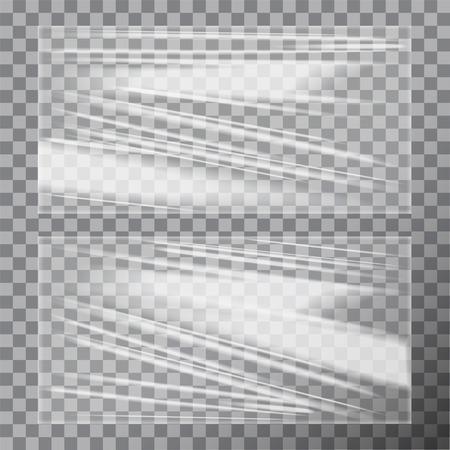 Transparent Glossy Polyethylene Plastic Warp. Vector template set Stock Vector - 88772274