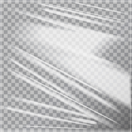Vector template of transparent glossy polyethylene plastic warp. Illustration