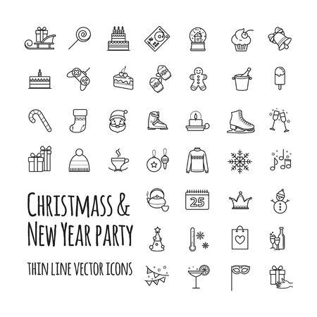 Icons set - winter, christmas, holiday, party, birthday Illustration