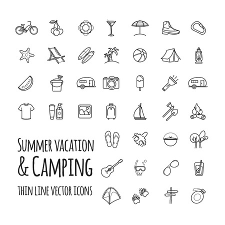 Summer vacation and camping vector icons set