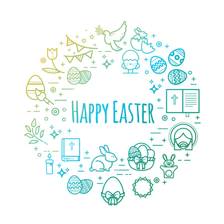 Celebration easter signs. Happy easter outline vector illustrations