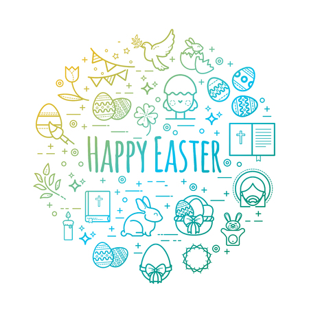 Vector celebration easter signs. Happy easter outline illustrations