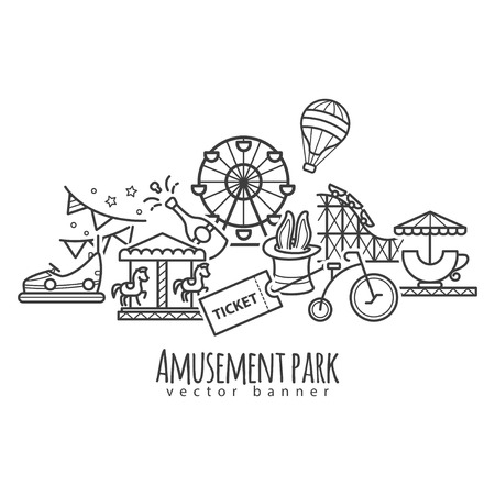 Amusement park, attraction vector icons for your design, for web, app Illustration