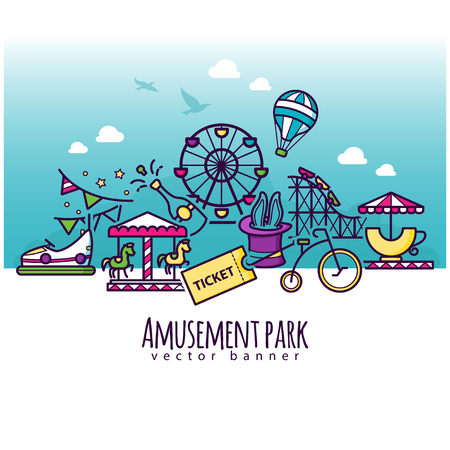 Amusement park vector icons, attraction banner template