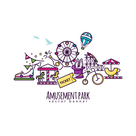 Amusement park vector illustration, attraction banner template for your design
