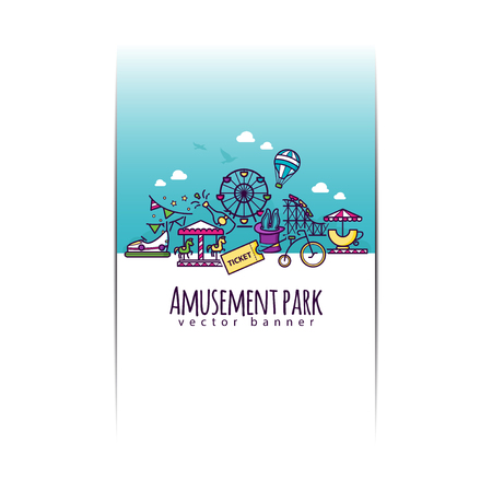 Amusement park vector banner template for your design