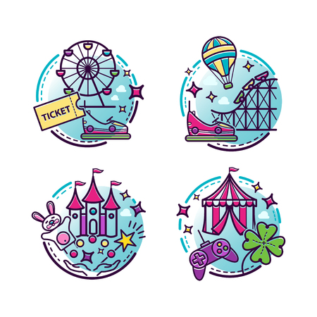 Amusement park vector illustrations, outline icons for your design Illustration