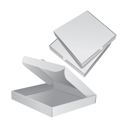 Set van vector verpakking voor pizza. Realistische 3D-afbeelding Stock Illustratie