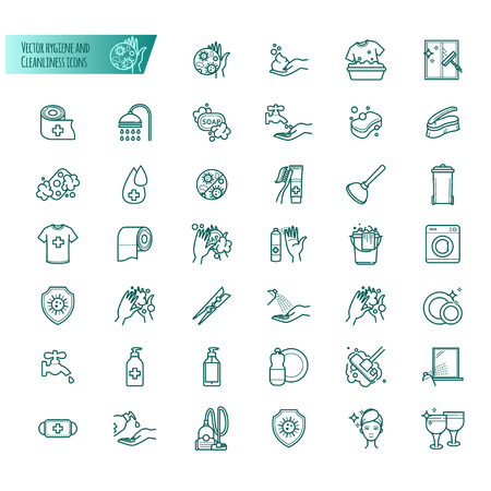 Hygiene and cleanliness vector icons set