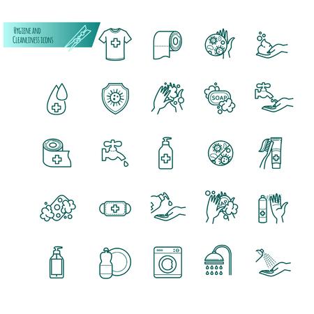 hygiène et ligne de vecteur icônes de fine qualité