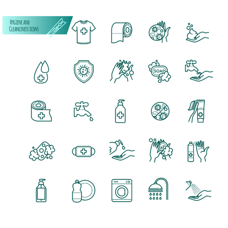 Hygiene and cleanliness vector thin line icons