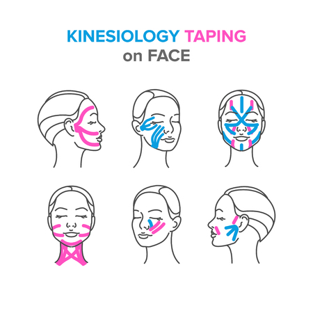 kinesiology taping on face Illusztráció