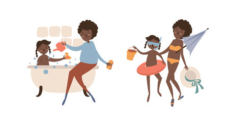 Single black mother with daughter go in the summer to the beach. Bathe in the bathroom with soap bubbles Illustration