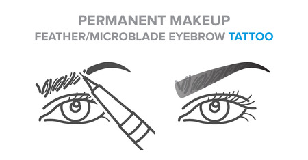 permanent makeup, feather, microblade eyebrow tattoo procedure Stock Vector - 125597825