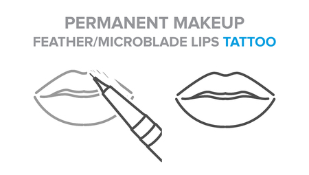permanent makeup, feather, microblade lips tattoo procedure. Illustration for your design