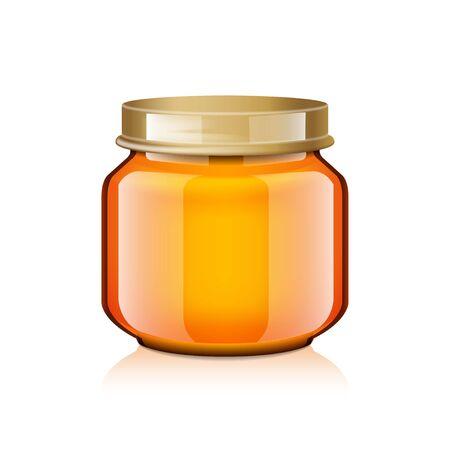 Bocal en verre maquette pour miel, confiture, gelée ou purée d'aliments pour bébés
