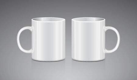 White tea mug. Side view. Realistic vector Mock up Cup Template