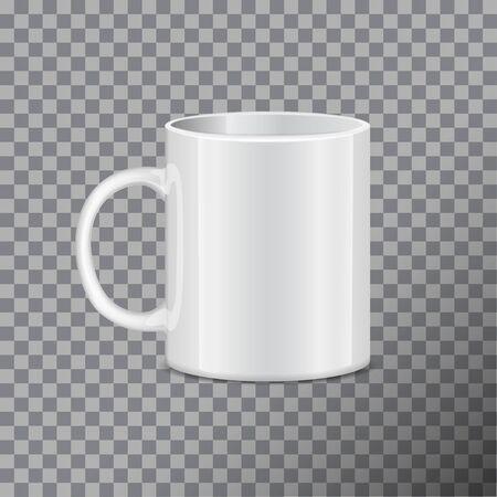 White tea mug. Side view. Realistic vector Mock up Template Illustration