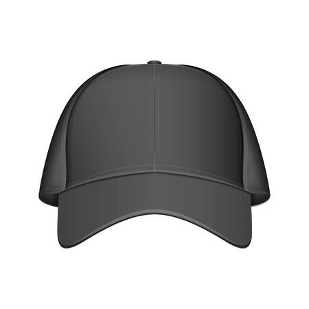 Black baseball cap. Vector realistic illustration. Front view