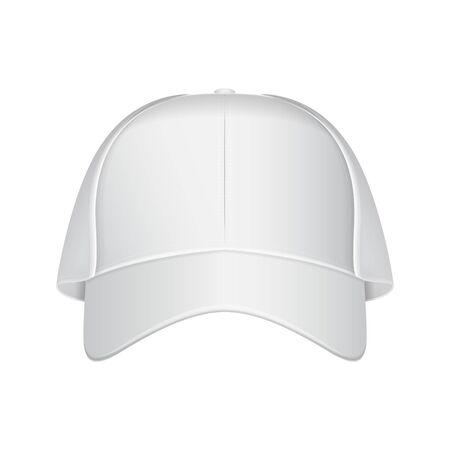 White baseball cap. Vector realistic illustration. Front view Illustration