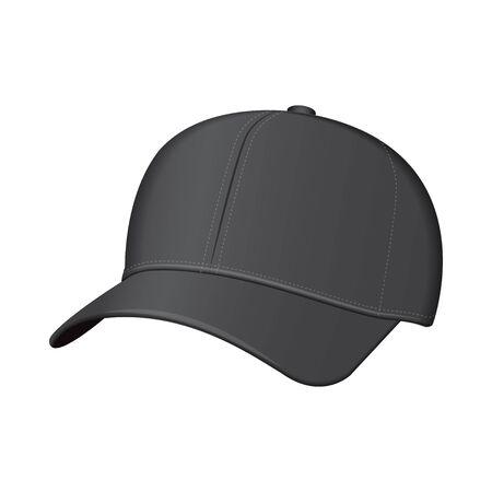 Black baseball cap. Vector realistic illustration. Side view