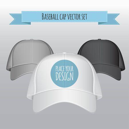 Baseball cap vector set. Realistic illustration. Front view Illustration