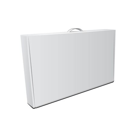 White Cardboard Package Box With Handle. Vector Mock Up Template Illustration