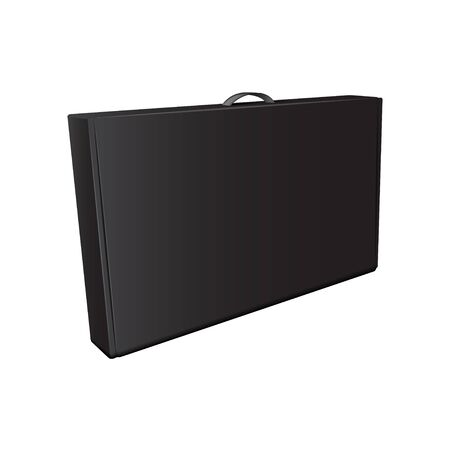 Black Cardboard Package Box With Handle. Vector Mock Up Template for your design Illustration